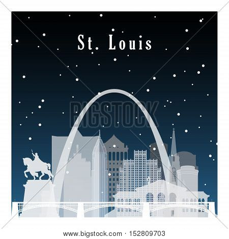 Night city in flat style for banner poster illustration game background. Nightlife and starry sky in St Louis.