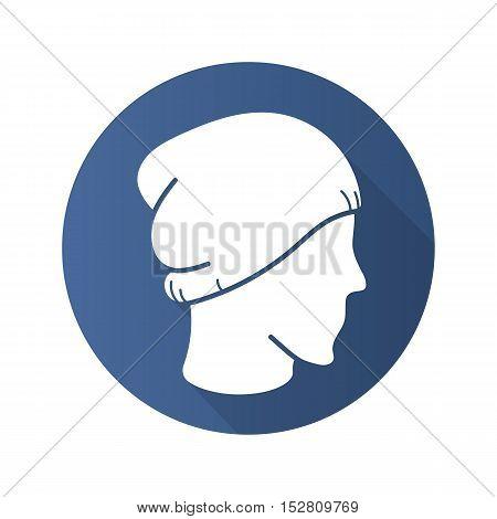 Winter hat flat design long shadow icon. Ski cap on mannequin's head. Vector silhouette symbol