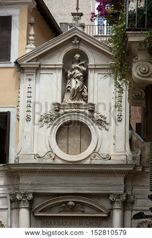 The facade of Santa Barbara dei Librari in Rome Italy