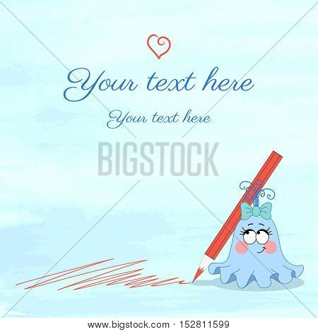 Vector illustration. Monster girl with crayon on watercolor background. Blots of paint. Easily edit the colors. Place for your text