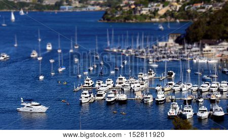 Moored yachts at The Spit (Sydney NSW Australia)