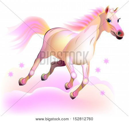 Illustration of fantasy fairyland pink horse running in the clouds. Vector cartoon image.