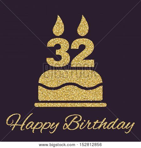 The birthday cake with candles in the form of number 32 icon. Birthday symbol. Gold sparkles and glitter Vector illustration