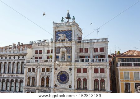 Venice Italy - May 05 2016: The facade of San Mark's Clocktower the building is situated in the northern part of the Piazza San Marco