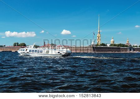 Peter and Paul Fortress, St. Petersburg, Russia. Focus on the cathedral