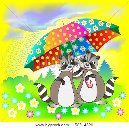 Illustration of couple of raccoons holding umbrella, vector cartoon image.