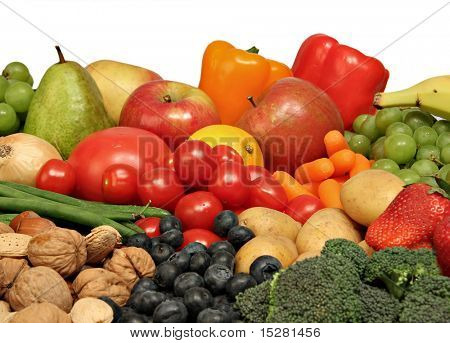 Variety of the healthiest fruits, nuts and vegetables.