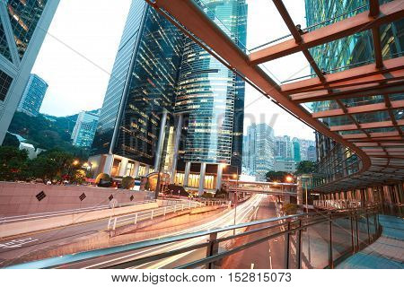 Hongkong Of Road Light Trails On Streetscape Buildings