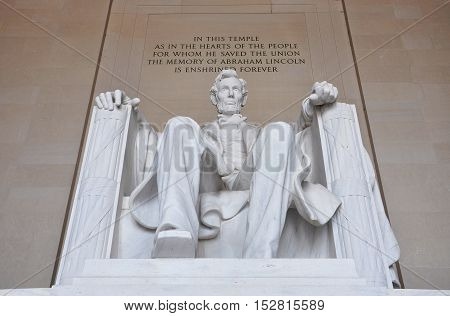 Lincoln Statue in Lincoln Memorial, Washington DC, USA.
