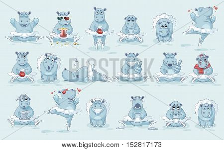 Set Vector Stock Illustrations isolated Emoji character cartoon ballerina Hippopotamus dances ballet stickers emoticons different emotions for site, info graphic, animation, website, newsletter, comic