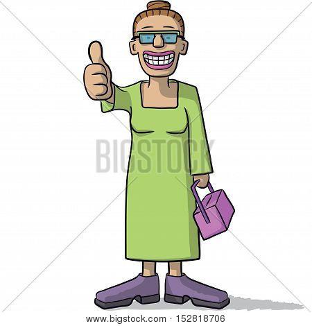 Cartoon Woman With Thumb Up