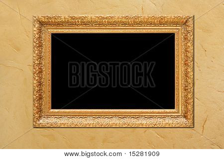 Antique frame on wallpaper, add your own text or photo.