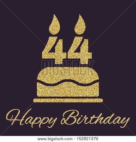 The birthday cake with candles in the form of number 44 icon. Birthday symbol. Gold sparkles and glitter Vector illustration