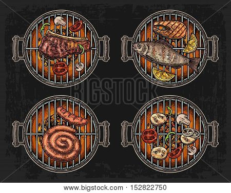 Barbecue grill top view with charcoal mushroom tomato pepper sausage lemon kebab fish and beef steak. Vintage color vector engraving illustration. Isolated on dark background
