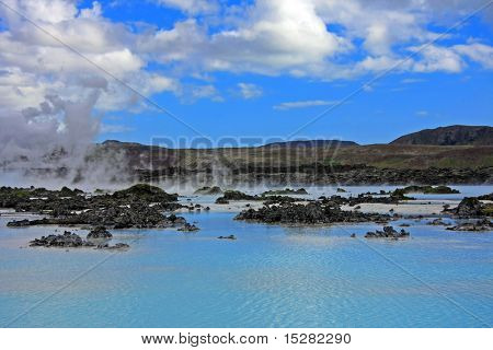 Blue lagoon, Iceland, a geothermal bath resort. poster