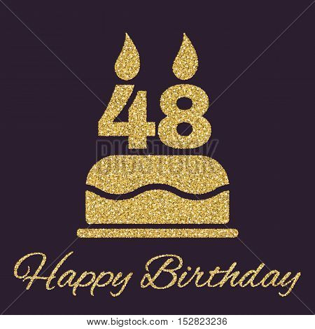 The birthday cake with candles in the form of number 48 icon. Birthday symbol. Gold sparkles and glitter Vector illustration