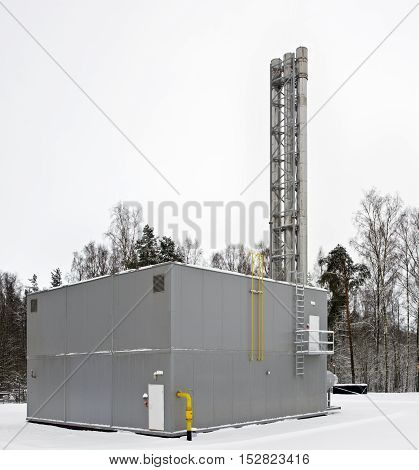 modern built a gas boiler house building