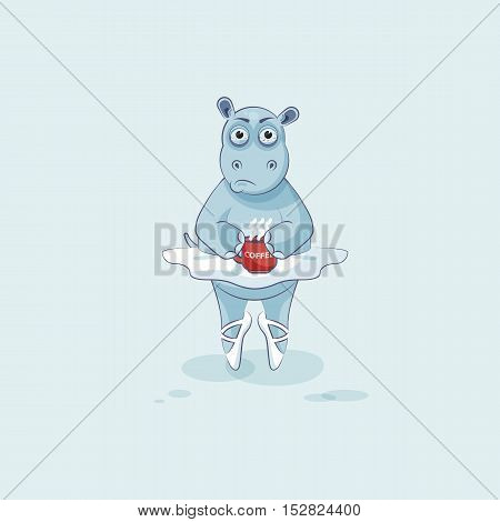 Vector Stock Illustration isolated Emoji character cartoon ballerina Hippopotamus nervous with cup of coffee sticker emoticon for site, info graphic, video, animation, website, mail, newsletter, comic