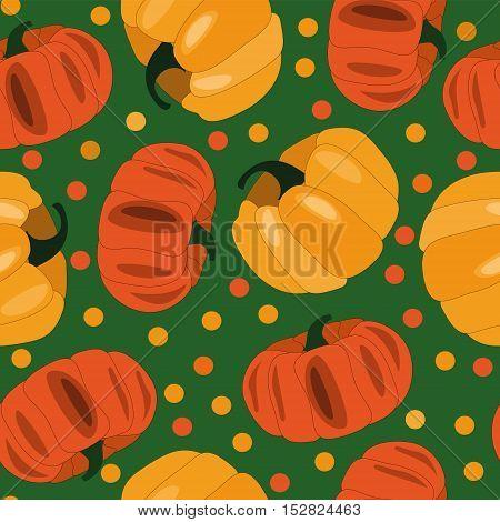 Vecto pumpkin pattern. Fruits seamless background,design element,
