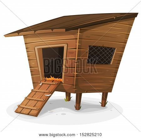 Illustration of a cartoon wooden farm chicken coop with entrance and little window with grid