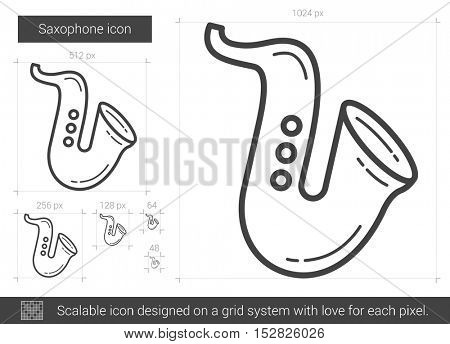 Saxophone vector line icon isolated on white background. Saxophone line icon for infographic, website or app. Scalable icon designed on a grid system.