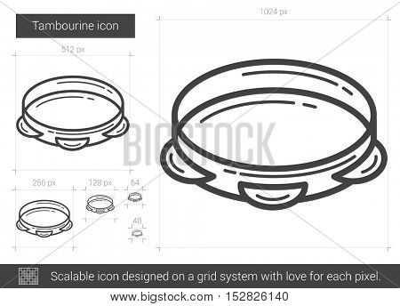 Tambourine vector line icon isolated on white background. Tambourine line icon for infographic, website or app. Scalable icon designed on a grid system.