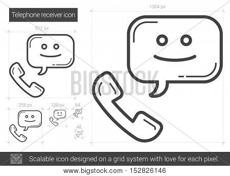 Telephone receiver vector line icon isolated on white background. Telephone receiver line icon for infographic, website or app. Scalable icon designed on a grid system.