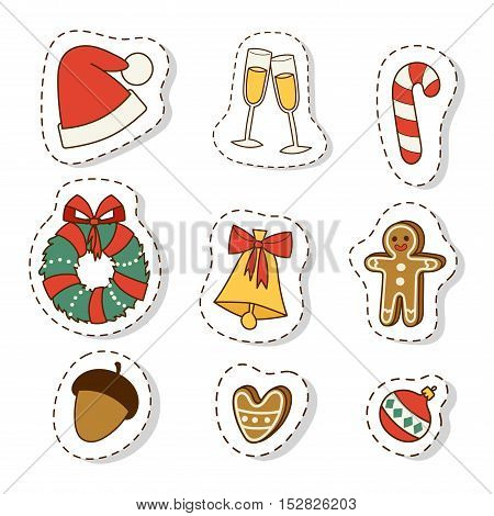 Christmas icons symbols for greeting card symbols vector winter celebration design. Merry christmas symbols holidays winter decoration icons. Hand drawn New Year greeting card christmas symbols.