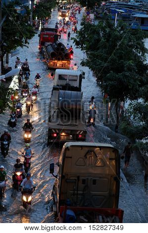 Terrible Flooded Street, Motorbike In Tide Time