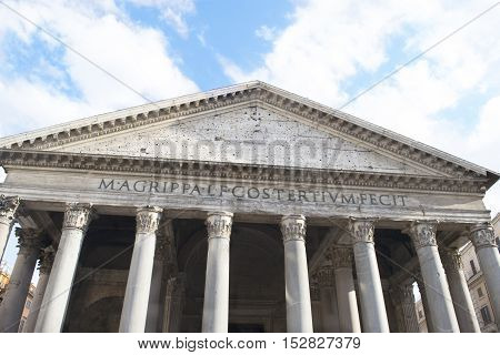 View of a detail of the Pantheon in Rome