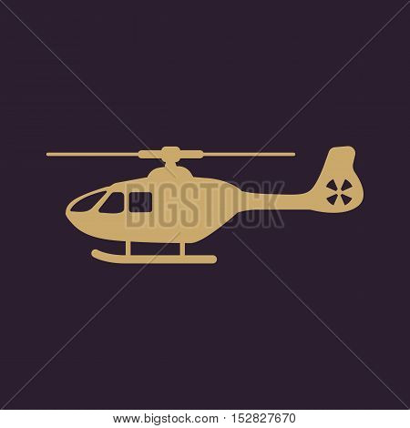 The helicopter icon. Copter symbol. Flat Vector illustration