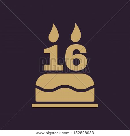 The birthday cake with candles in the form of number 16 icon. Birthday symbol. Flat Vector illustration