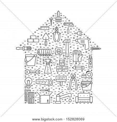 Home repair and construction outline gray vector illustration. Clean and simple design. House shape poster.