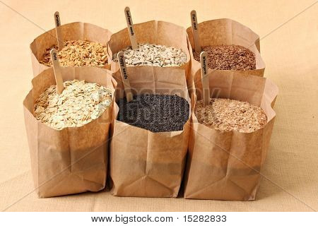 Whole grains, oats, flax, poppy, wheatgerm, granola, sunflower seeds. poster