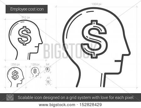 Employee cost vector line icon isolated on white background. Employee cost line icon for infographic, website or app. Scalable icon designed on a grid system.