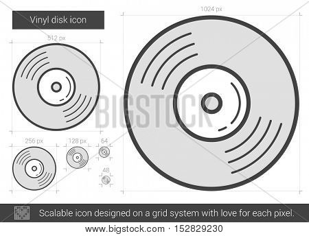 Vinyl disk vector line icon isolated on white background. Vinyl disk line icon for infographic, website or app. Scalable icon designed on a grid system.