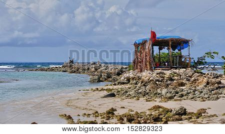 Guadeloupe Sainte Anne France, a picturesque hut on the beach