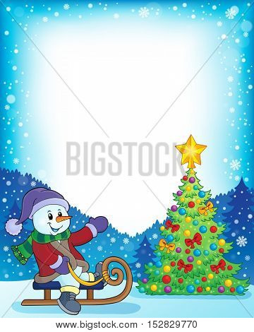Frame with Christmas tree and snowman 4 - eps10 vector illustration.
