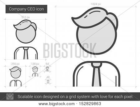 Company CEO vector line icon isolated on white background. Company CEO line icon for infographic, website or app. Scalable icon designed on a grid system.