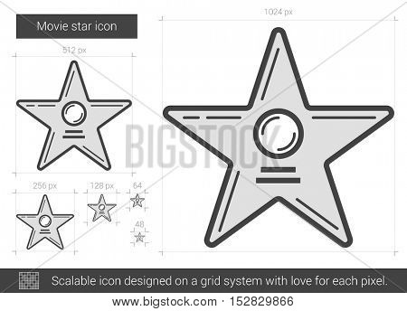Movie star vector line icon isolated on white background. Movie star line icon for infographic, website or app. Scalable icon designed on a grid system.