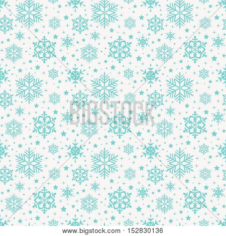 Seamless pattern with snowflakes. Winter background in white and delicate blue colors. Vector illustration.