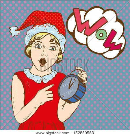 Girl holding clock and waiting for christmas or new year. Clock with 5 minutes to midnight time. Vector illustration in comic retro pop art style. Holiday concept poster or card.