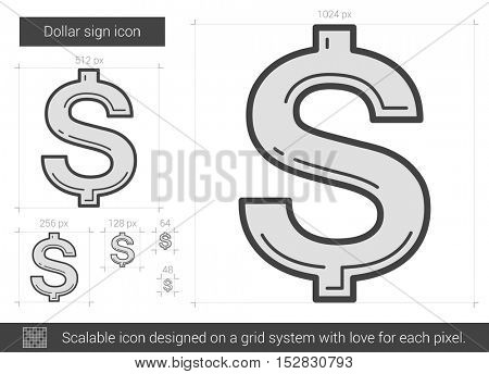 Dollar sign vector line icon isolated on white background. Dollar sign line icon for infographic, website or app. Scalable icon designed on a grid system.