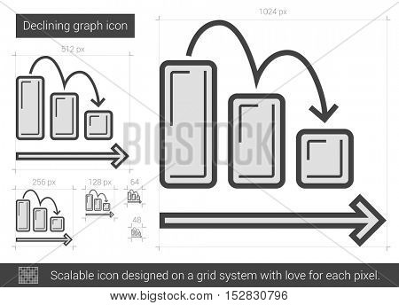Declining graph vector line icon isolated on white background. Declining graph line icon for infographic, website or app. Scalable icon designed on a grid system.