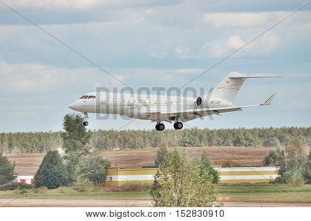 Borispol Ukraine - October 2 2011: Bombardier BD-700-1A10 Global Express XRS business jet on short final landing