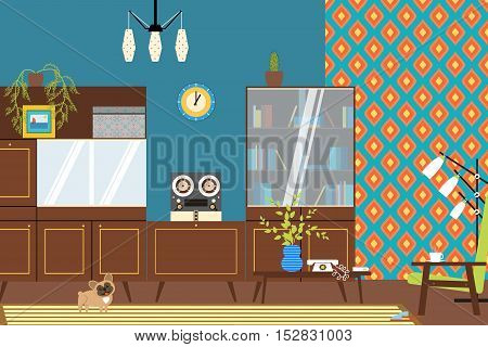 The interior in the style of the 70's with a floor lamp wall furniture and armchair