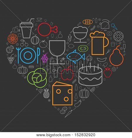 Icons for food and drinks arranged in heart shape. Vector illustration.