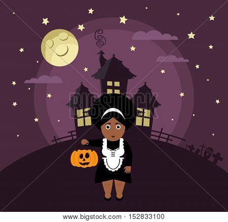 Poster, banner or background for Halloween Party night with haunted house. Maid, pumpkin, moon and stars. Modern flat design.