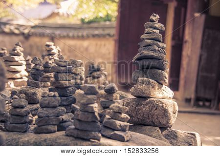 Pile of rocks stone in the buddhist temple Bulguksa, Gyeongju South Korea. Zen concept
