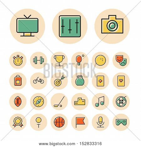Thin line icons for leisure travel and sport. Vector illustration.